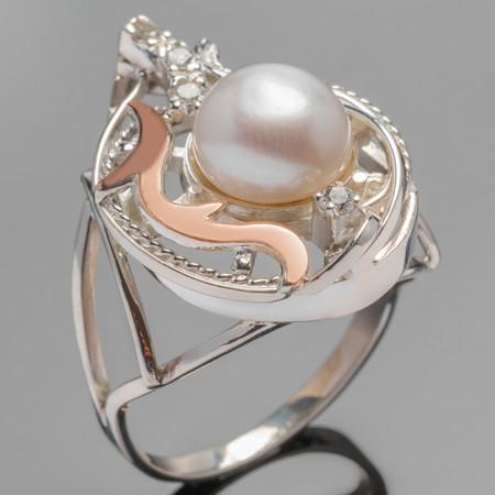 Кольцо серебряное 925 пробы с жемчугом и золотом арт. 260к