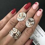 """Кольцо серебряное 925 пробы с золотыми вставками """"Утро"""""""