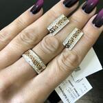"""Серебряный набор с золотыми вставками """"Рим"""""""