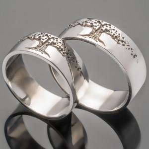 Серебряное обручальное кольцо Древо жизни арт. 383/1к