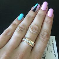 Серебряное обручальное кольцо с золотом арт. 278к