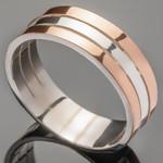 Серебряное обручальное кольцо с золотом арт. 281к