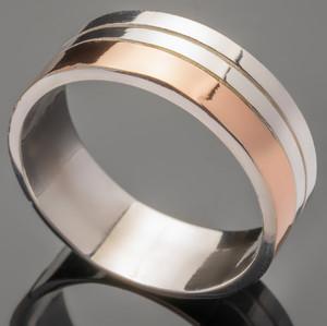 Серебряное обручальное кольцо с золотом арт. 277к