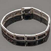 Серебряный мужской браслет с золотыми вставками арт. 380/1