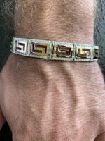 Серебряный мужской браслет с золотыми вставками арт. 380