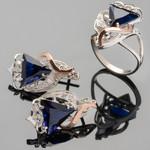 Гарнитур из серебра 925 пробы с золотыми вставками арт. 271г