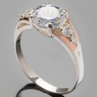 Серебряное кольцо с золотыми вставками 925 пробы арт. 316к