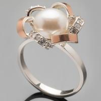 Серебряные кольца с жемчугом и золотом арт. 361к