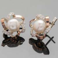 Серебряные серьги с жемчугом и фианитами арт. 361с