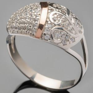 Серебряное кольцо 925 пробы с золотом арт. 362к