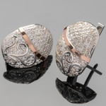 Серебряные серьги 925 пробы с золотыми вставками арт. 362с