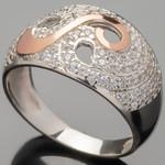 Серебряное кольцо 925 пробы с золотом арт. 363к