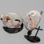 Серебряные серьги 925 пробы с золотыми вставками арт. 363с