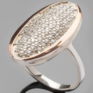 Серебряное кольцо 925 пробы с золотом арт. 366к