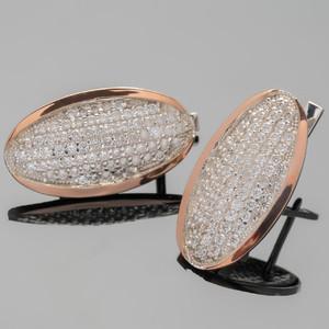 Серебряные серьги 925 пробы с золотыми вставками арт. 366с
