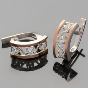 Серебряные серьги 925 пробы с золотыми вставками арт. 371с