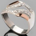 Серебряное кольцо 925 пробы с золотом арт. 408к