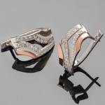 Серебряные серьги 925 пробы с золотыми вставками арт. 408с