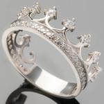 Серебряное кольцо Корона с фианитами арт. 411к