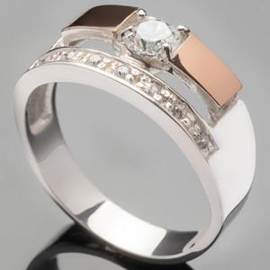Серебряное кольцо 925 пробы с золотом арт. 413к