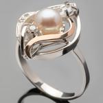 Серебряные кольца с жемчугом и золотом арт. 422к