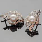 Серебряные серьги с жемчугом и фианитами арт. 422с