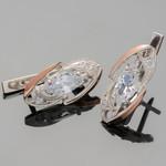 Серебряные серьги 925 пробы с золотыми вставками арт. 424с