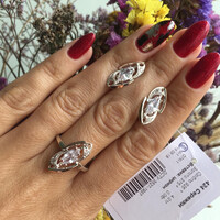 Серебряное кольцо 925 пробы с золотом арт. 424к