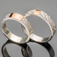 Серебряное обручальное кольцо с золотом арт. 475к