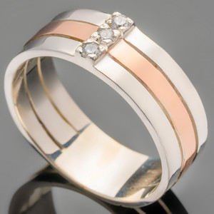 Серебряное кольцо 925 пробы с золотом арт. 280к