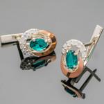 Серебряные серьги 925 пробы с золотыми вставками арт. 368с
