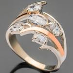 Серебряное кольцо 925 пробы с золотом арт. 372к