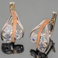 Серебряные серьги 925 пробы с золотыми вставками арт. 372с