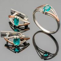 Серебряное кольцо 925 пробы с золотом арт. 373к