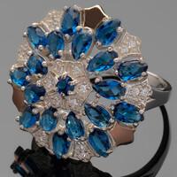 Серебряное кольцо 925 пробы с золотом арт. 427к