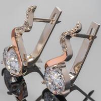Серебряный набор 925 пробы с золотыми вставками арт. 429г