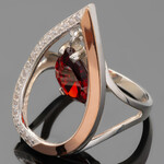 Кольцо серебряное 925 пробы с золотыми вставками арт. 436к