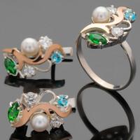 Серебряные кольца с жемчугом и золотом арт. 446к