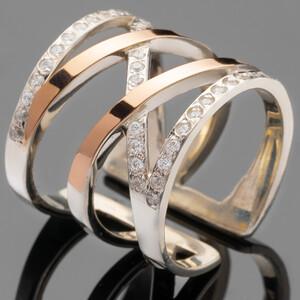 Серебряное кольцо 925 пробы с золотом арт. 451к