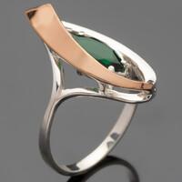 Серебряное кольцо 925 пробы с золотом арт. 460к