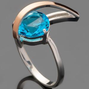 Серебряное кольцо 925 пробы с золотом арт. 461к