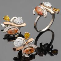 Серебряное кольцо 925 пробы с золотом арт. 462к