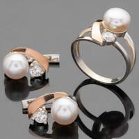 Серебряные кольца с жемчугом и золотом арт. 466к