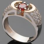 Серебряное кольцо 925 пробы с золотом арт. 468к