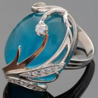 Серебряное кольцо 925 пробы с кабошоном арт. 478к