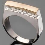 Серебряное кольцо 925 пробы с золотом арт. 485к