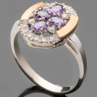 Серебряное кольцо 925 пробы с золотом арт. 491к