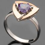 Серебряное кольцо 925 пробы с золотом арт. 494к
