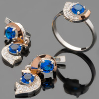 Серебряное кольцо 925 пробы с золотом арт. 495к