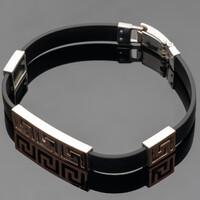Каучуковый браслет с серебром т золотом арт. 499б